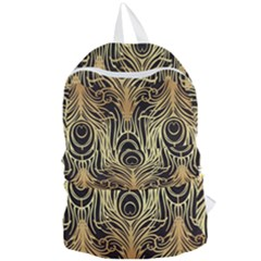 Gold, Black,peacock Pattern,art Nouveau,vintage,belle Epoque,chic,elegant,peacock Feather,beautiful Foldable Lightweight Backpack by 8fugoso