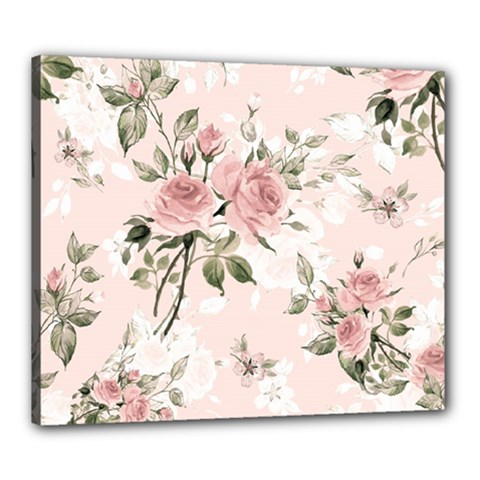 Pink Shabby Chic Floral Canvas 24  X 20  by 8fugoso
