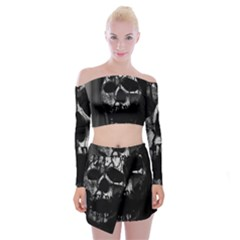 Black And Grey Nightmare Off Shoulder Top With Mini Skirt Set by vwdigitalpainting
