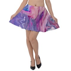 Marbled,ultraviolet,violet,purple,pink,blue,white,stone,marble,modern,trendy,beautiful Velvet Skater Skirt by 8fugoso