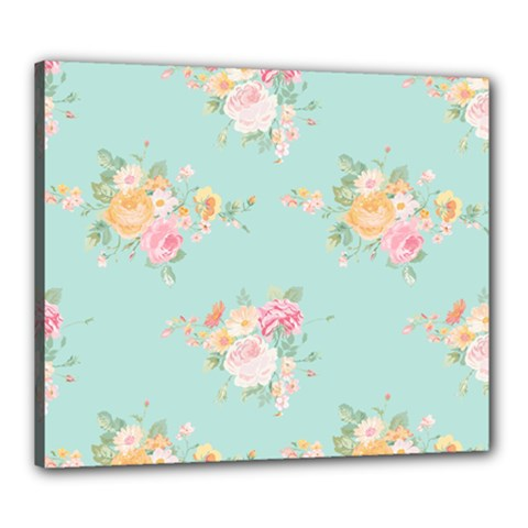 Mint,shabby Chic,floral,pink,vintage,girly,cute Canvas 24  X 20  by 8fugoso