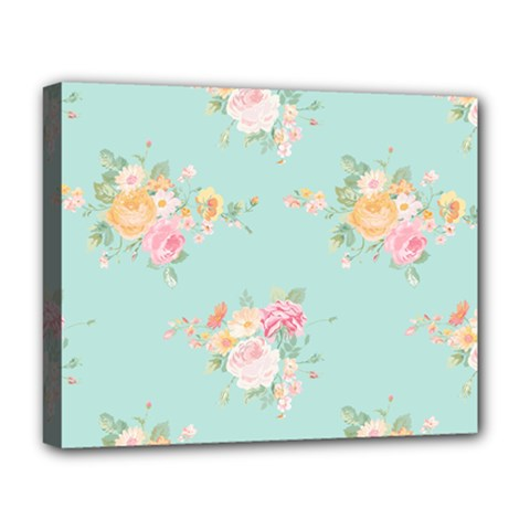 Mint,shabby Chic,floral,pink,vintage,girly,cute Deluxe Canvas 20  X 16   by 8fugoso