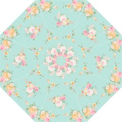 Mint,shabby Chic,floral,pink,vintage,girly,cute Hook Handle Umbrellas (medium) by 8fugoso