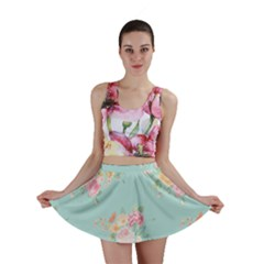 Mint,shabby Chic,floral,pink,vintage,girly,cute Mini Skirt by 8fugoso