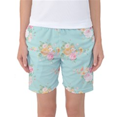 Mint,shabby Chic,floral,pink,vintage,girly,cute Women s Basketball Shorts by 8fugoso