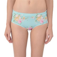 Mint,shabby Chic,floral,pink,vintage,girly,cute Mid-waist Bikini Bottoms by 8fugoso