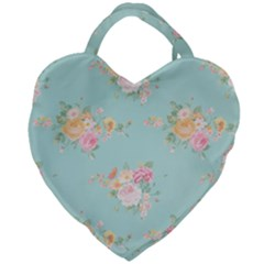 Mint,shabby Chic,floral,pink,vintage,girly,cute Giant Heart Shaped Tote by 8fugoso