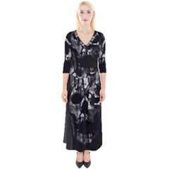 Black And Grey Nightmare Quarter Sleeve Wrap Maxi Dress by vwdigitalpainting