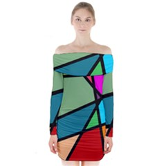 Modern Abstract Long Sleeve Off Shoulder Dress by vwdigitalpainting