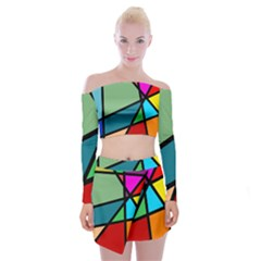 Modern Abstract Off Shoulder Top With Mini Skirt Set by vwdigitalpainting