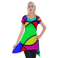Abstract Curves Short Sleeve Side Drop Tunic by vwdigitalpainting