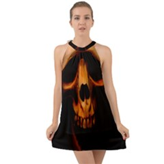 Bloody Tears Halter Tie Back Chiffon Dress