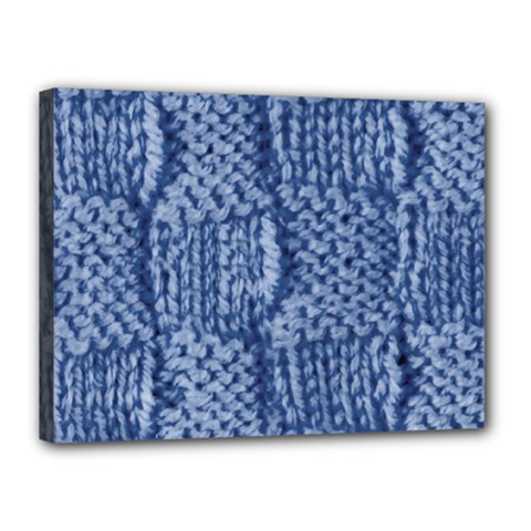Knitted Wool Square Blue Canvas 16  X 12  by snowwhitegirl