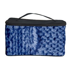 Knitted Wool Square Blue Cosmetic Storage Case by snowwhitegirl