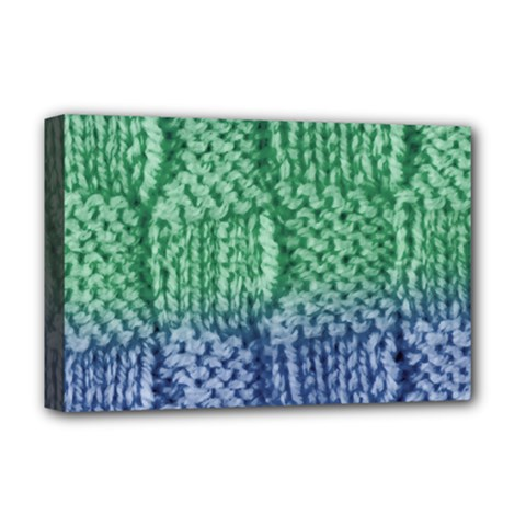 Knitted Wool Square Blue Green Deluxe Canvas 18  X 12   by snowwhitegirl