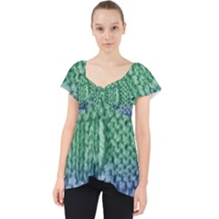 Knitted Wool Square Blue Green Lace Front Dolly Top by snowwhitegirl