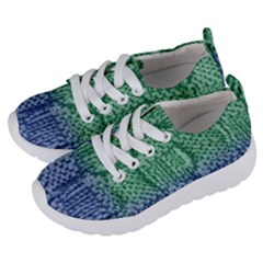 Knitted Wool Square Blue Green Kids  Lightweight Sports Shoes by snowwhitegirl