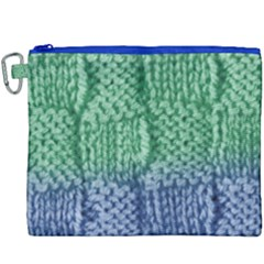 Knitted Wool Square Blue Green Canvas Cosmetic Bag (xxxl) by snowwhitegirl