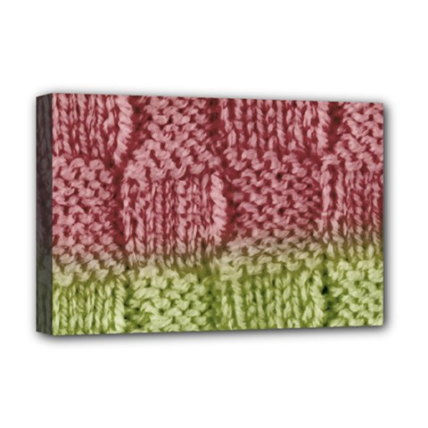 Knitted Wool Square Pink Green Deluxe Canvas 18  X 12