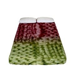 Knitted Wool Square Pink Green Fitted Sheet (full/ Double Size) by snowwhitegirl