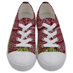Knitted Wool Square Pink Green Kids  Low Top Canvas Sneakers