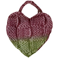 Knitted Wool Square Pink Green Giant Heart Shaped Tote