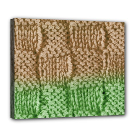 Knitted Wool Square Beige Green Deluxe Canvas 24  X 20   by snowwhitegirl
