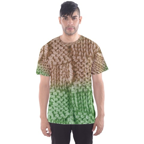 Knitted Wool Square Beige Green Men s Sports Mesh Tee by snowwhitegirl