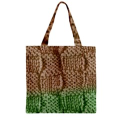 Knitted Wool Square Beige Green Zipper Grocery Tote Bag by snowwhitegirl