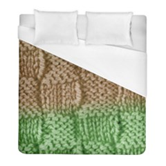 Knitted Wool Square Beige Green Duvet Cover (full/ Double Size) by snowwhitegirl