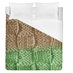Knitted Wool Square Beige Green Duvet Cover (queen Size) by snowwhitegirl
