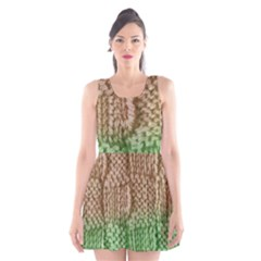Knitted Wool Square Beige Green Scoop Neck Skater Dress by snowwhitegirl
