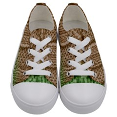 Knitted Wool Square Beige Green Kids  Low Top Canvas Sneakers