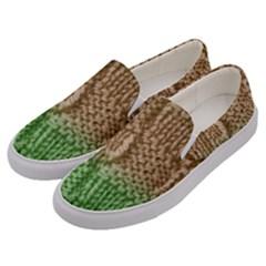Knitted Wool Square Beige Green Men s Canvas Slip Ons by snowwhitegirl