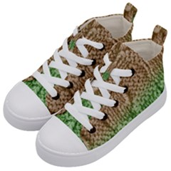 Knitted Wool Square Beige Green Kid s Mid Top Canvas Sneakers by snowwhitegirl