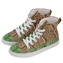 Knitted Wool Square Beige Green Men s Hi Top Skate Sneakers by snowwhitegirl