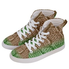 Knitted Wool Square Beige Green Women s Hi Top Skate Sneakers by snowwhitegirl