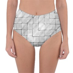 Silver Grid Pattern Reversible High-waist Bikini Bottoms by dflcprints