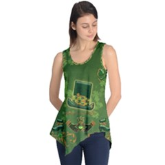 Happy St  Patrick s Day With Clover Sleeveless Tunic by FantasyWorld7