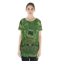 Happy St  Patrick s Day With Clover Skirt Hem Sports Top by FantasyWorld7