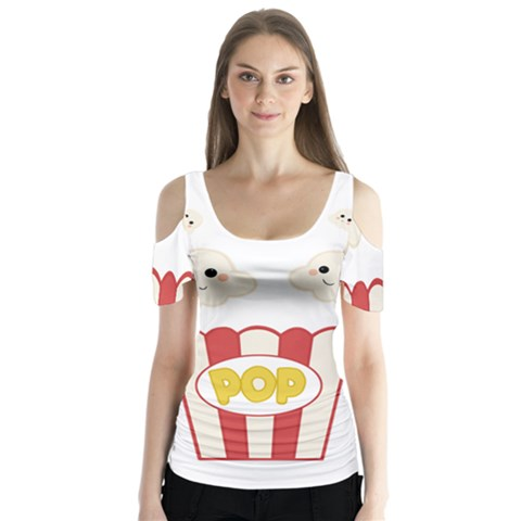 Cute Kawaii Popcorn Butterfly Sleeve Cutout Tee  by Valentinaart