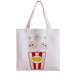Cute Kawaii Popcorn Grocery Tote Bag by Valentinaart