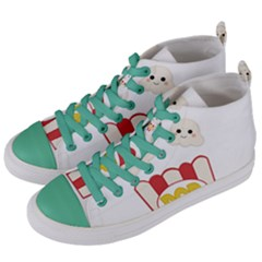 Cute Kawaii Popcorn Women s Mid Top Canvas Sneakers by Valentinaart