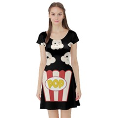 Cute Kawaii Popcorn Short Sleeve Skater Dress