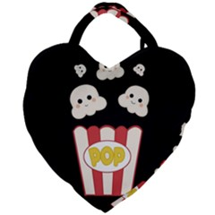 Cute Kawaii Popcorn Giant Heart Shaped Tote by Valentinaart