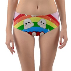 Cute Kawaii Popcorn Reversible Mid-waist Bikini Bottoms by Valentinaart