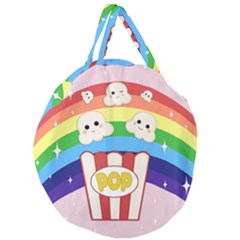 Cute Kawaii Popcorn Giant Round Zipper Tote by Valentinaart