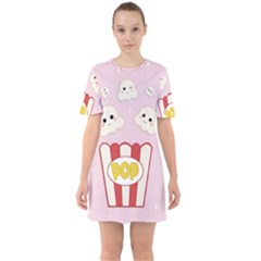 Cute Kawaii Popcorn Sixties Short Sleeve Mini Dress