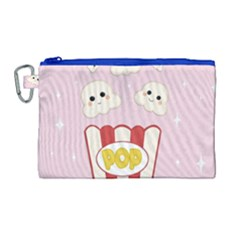 Cute Kawaii Popcorn Canvas Cosmetic Bag (large) by Valentinaart