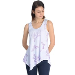Beautiful,violet,floral,shabby Chic,pattern Sleeveless Tunic by 8fugoso